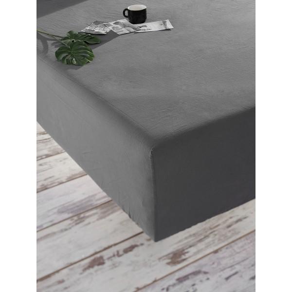 Простынь на резинке Stonewash SoundSleep Adriatic dark gray темно-серая 160х200 см