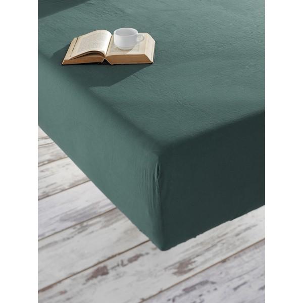 Простынь на резинке Stonewash SoundSleep Adriatic dark green темно-зеленая 160х200 см
