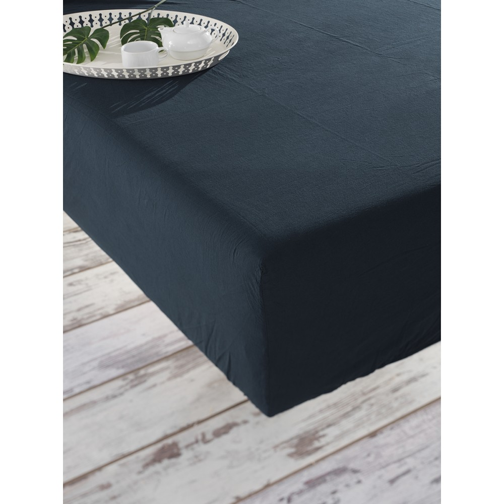 Простынь на резинке Stonewash SoundSleep Adriatic dark blue темно-синяя 160х200 см