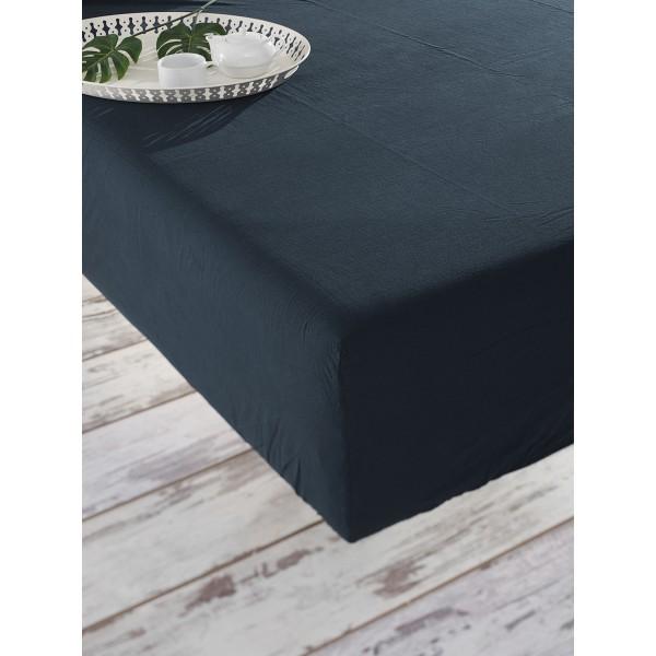 Простынь на резинке Stonewash Soundsleep Adriatic dark blue темно-синяя 180х200 см