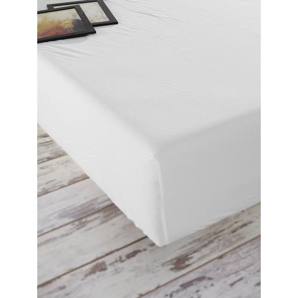 Простынь на резинке Stonewash SoundSleep Adriatic milky молочная 180х200 см