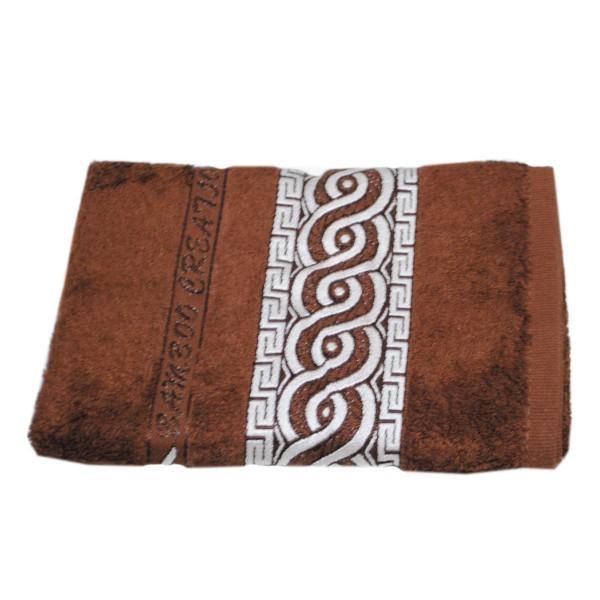 Махровое полотенце Julia Bamboo Spiral коричневое 50х90 см