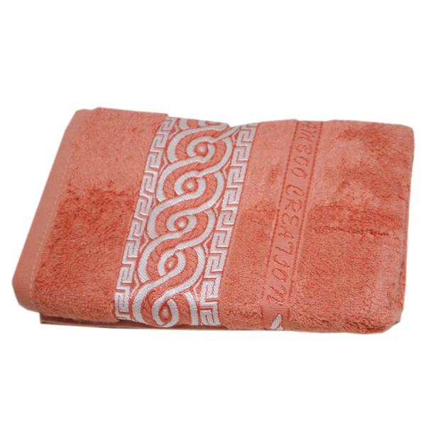 Махровое полотенце Julia Bamboo Spiral коралловое 50х90 см
