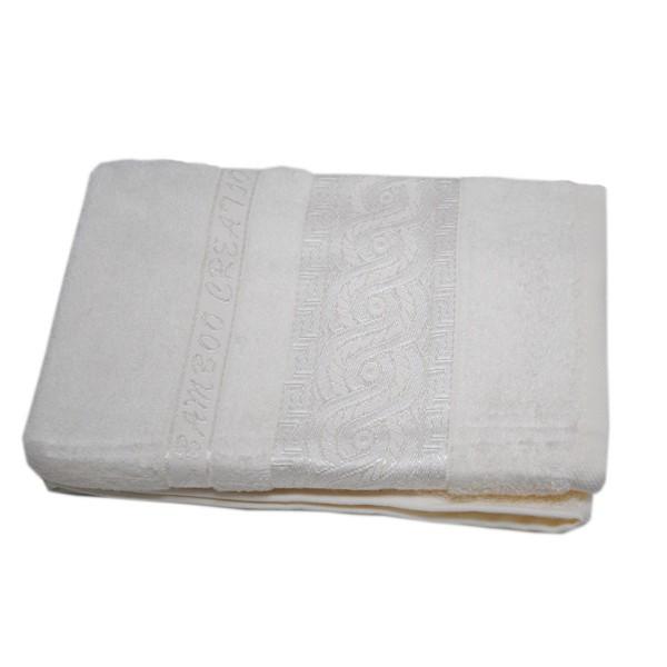 Махровое полотенце Julia Bamboo Spiral кремовое 70х140 см