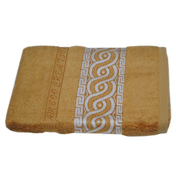 Махровое полотенце Julia Bamboo Spiral горчичное 50х90 см