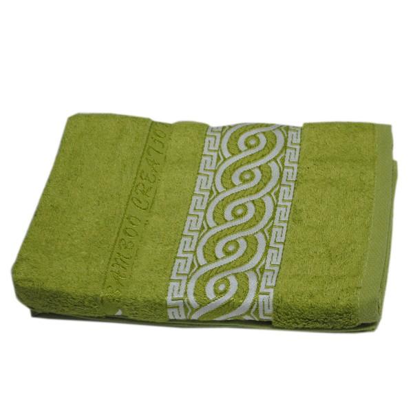 Махровое полотенце Julia Bamboo Spiral оливковое 70х140 см
