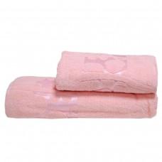 Махровое полотенце Julia Gizli Bahce розово-персиковое 50х90см