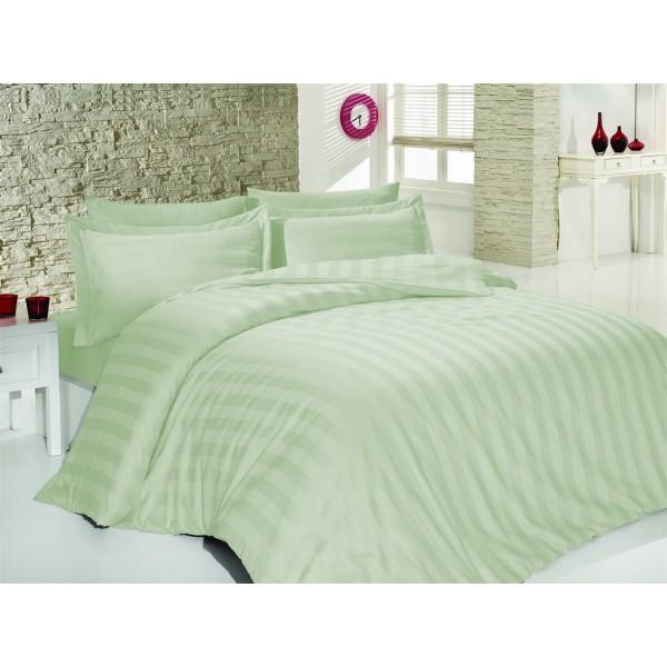 Комплект постельного белья SoundSleep Stripes сатин-жаккард семейный мятный