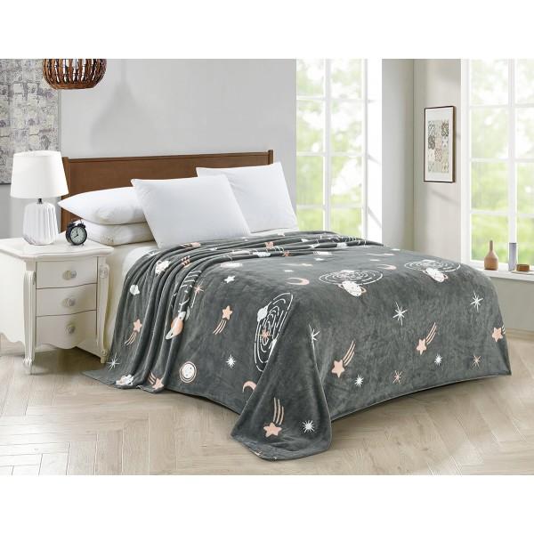 Плед флисовый SoundSleep Space gray серый 150х220 см