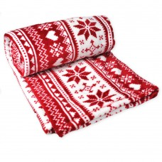 Fleece blanket Winter TM Emily red with ornament 150х210 cm