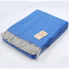 Плед Влади Скиф шерстяной 140х200 см бело-голубой