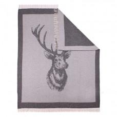 Плед Влади Сан-Ремо бело-серый олень