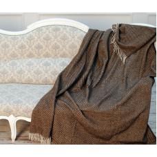 Плед шерстяной Влади Лиль бело-коричневый 140х200 см