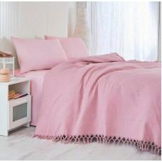 Покрывало-простынь хлопковая вафельная Saheser розовая 180х240 см