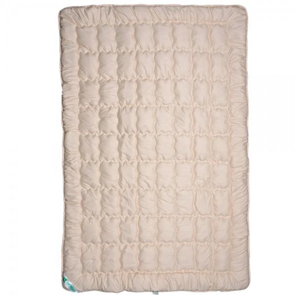 Одеяло Славянский пух Биошерсть полушерстяное зимнее стеганое бежевое 145х205 см 1300г