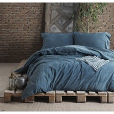 Комплект постельного белья SoundSleep Stonewash Denim dark blue синий евро