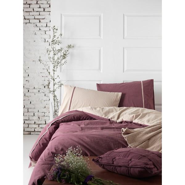 Комплект постельного белья SoundSleep Stonewash DoubleFace евро бордовый