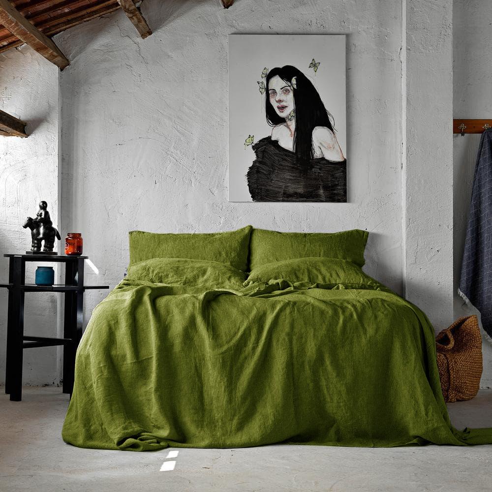 Льняное постельное белье SoundSleep Muse olive евро