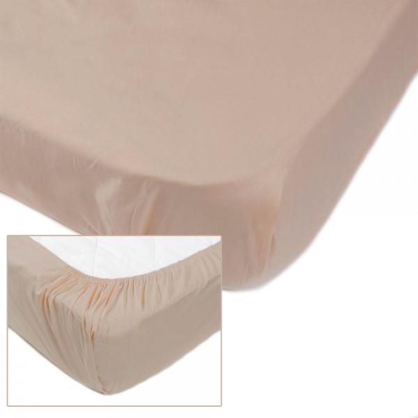 Простынь на резинке SoundSleep Dyed Beige ранфорс 200х200 см