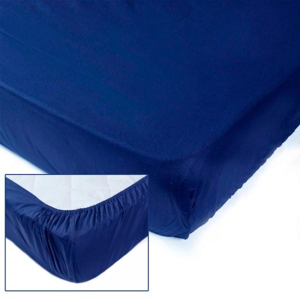 Простынь на резинке SoundSleep Dyed Dark blue ранфорс 180х200 см