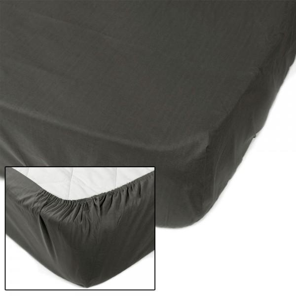 Простынь на резинке SoundSleep Dyed Dark grey ранфорс 90х200 см