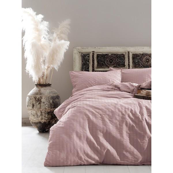 Комплект постельного белья Vogue SoundSleep сатин Pudra пудровый евро