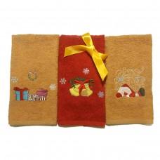 Набор махровых полотенец Украина Новогодние с вышивкой