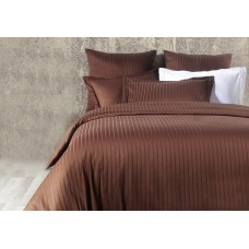 Bed linen set Line Вrown SoundSleep Satin jacquard euro