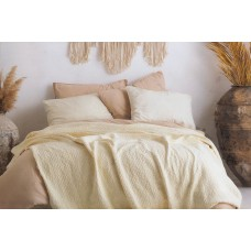 Set of cotton bedspread with pillowcases SoundSleep Andalusia cream