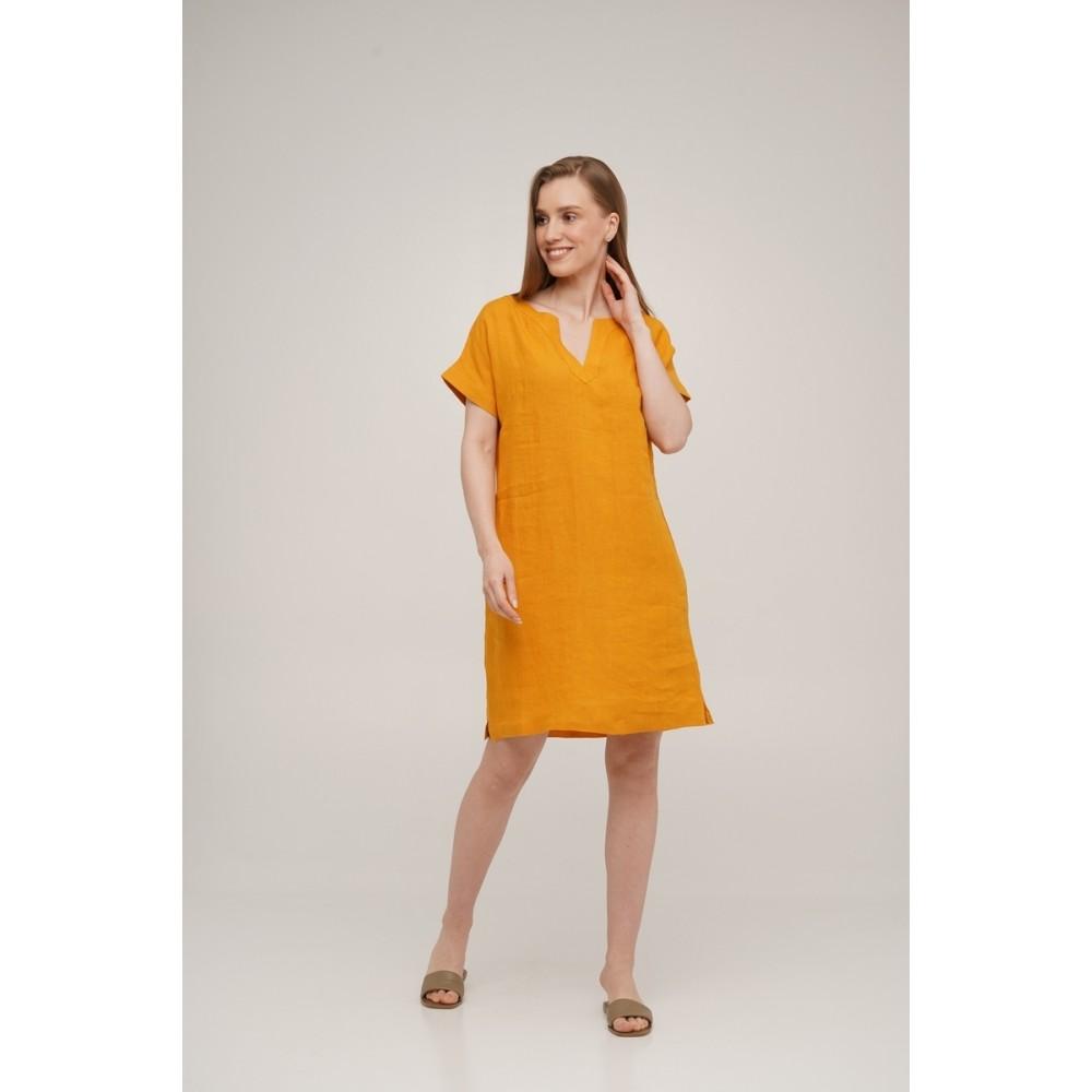 Платье льняное короткое Linen SoundSleep горчичное размер m