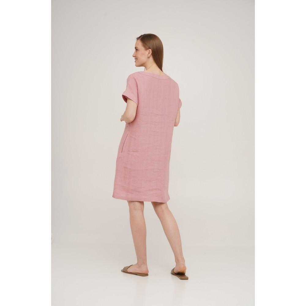 Платье льняное короткое Linen SoundSleep розовое размер s