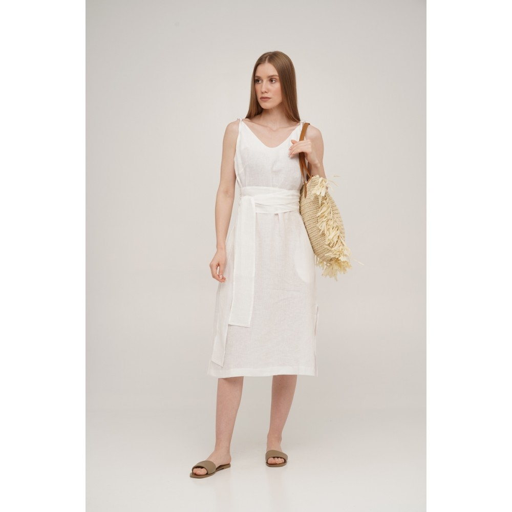 Сарафан льняной SoundSleep Linen белый размер m
