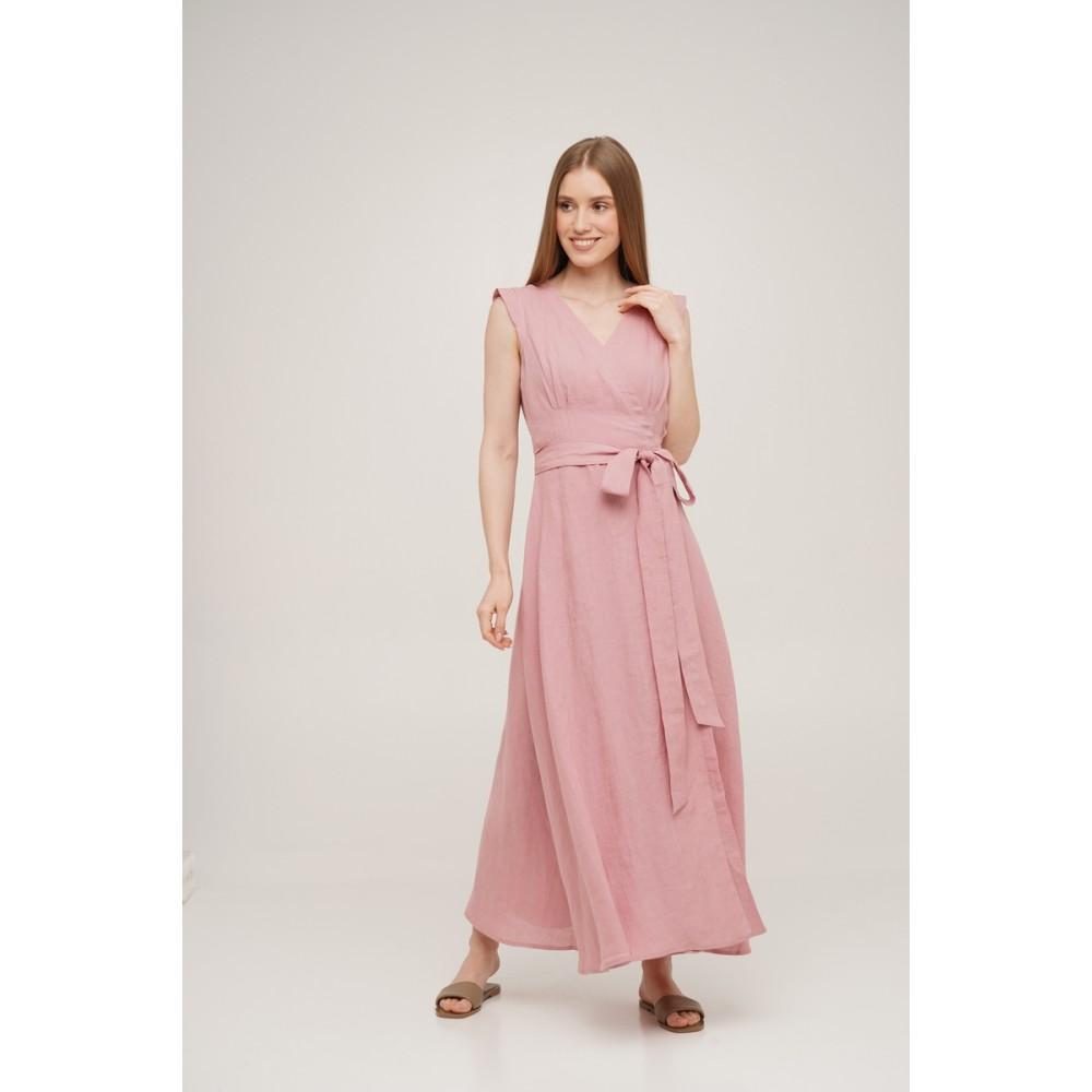 Платье на запах льняное Linen SoundSleep розовое размер m