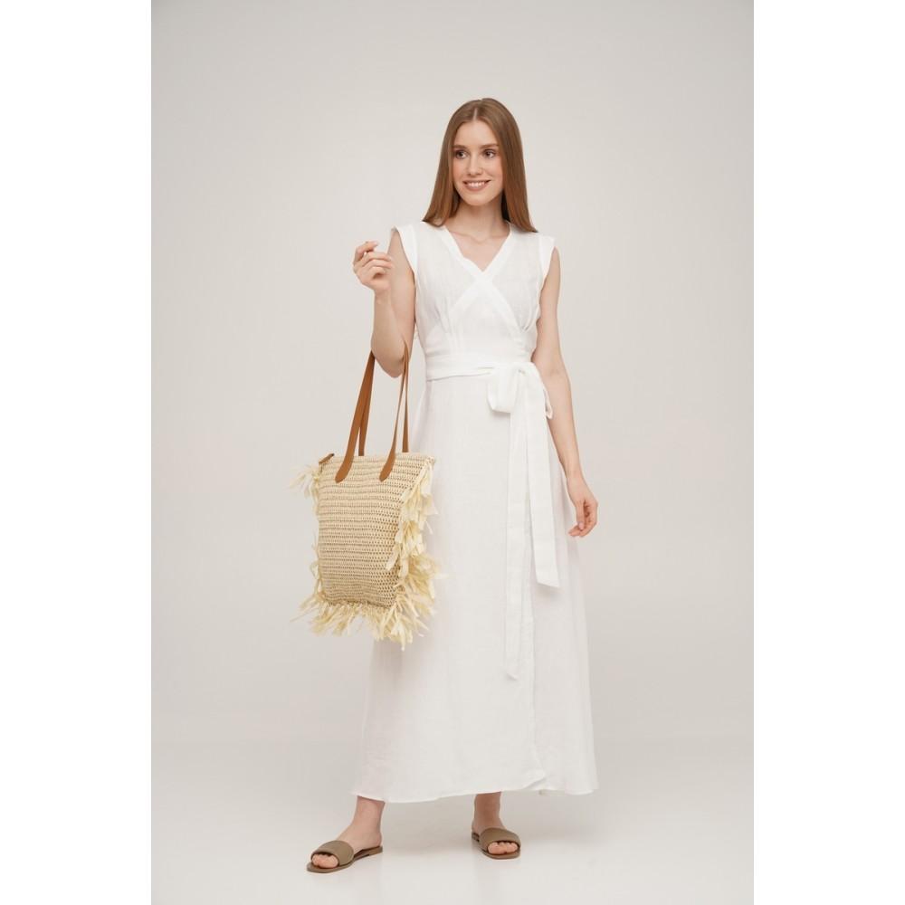 Платье на запах льняное Linen SoundSleep белое размер xxl