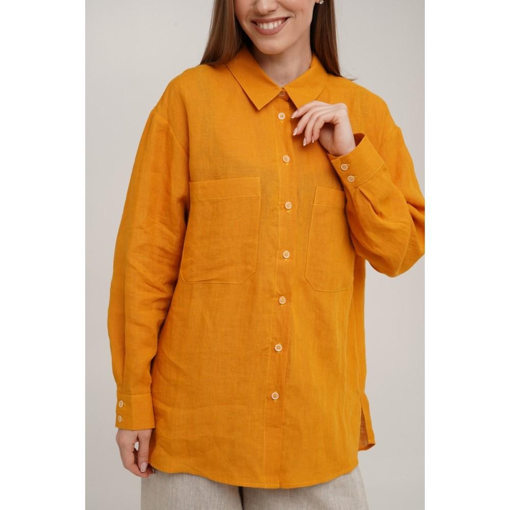 Рубашка льняная Linen SoundSleep горчичная размер m