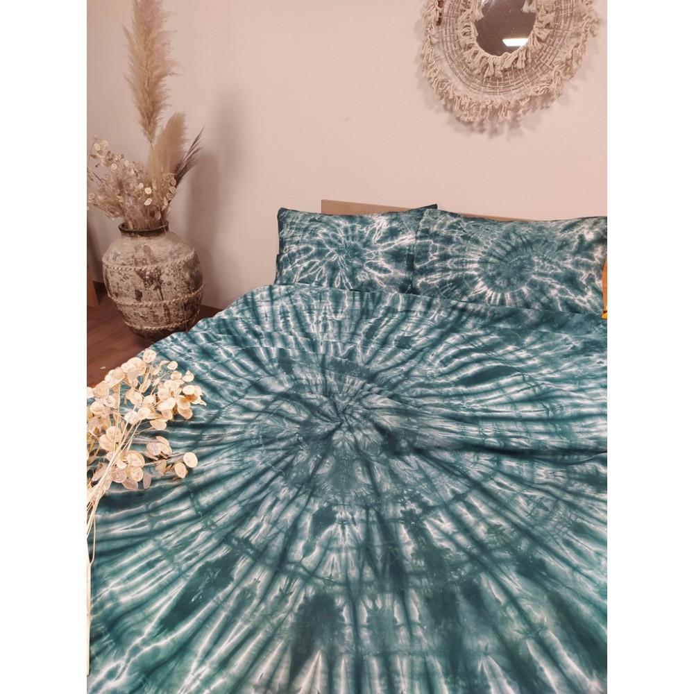 Комплект постельного белья ручного окрашивания темно-зеленый SoundSleep ранфорс евро