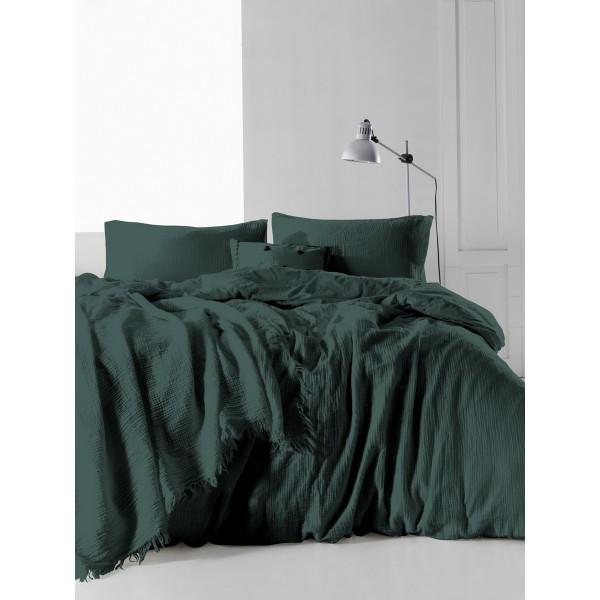 Комплект постельного белья SoundSleep Muslin Dark Green полуторный