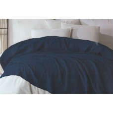 Set of cotton bedspread with pillowcases SoundSleep Damask dark blue
