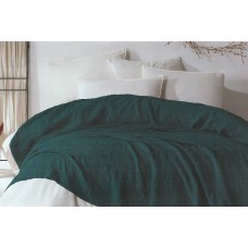 Set of cotton bedspread with pillowcases SoundSleep Damask dark green