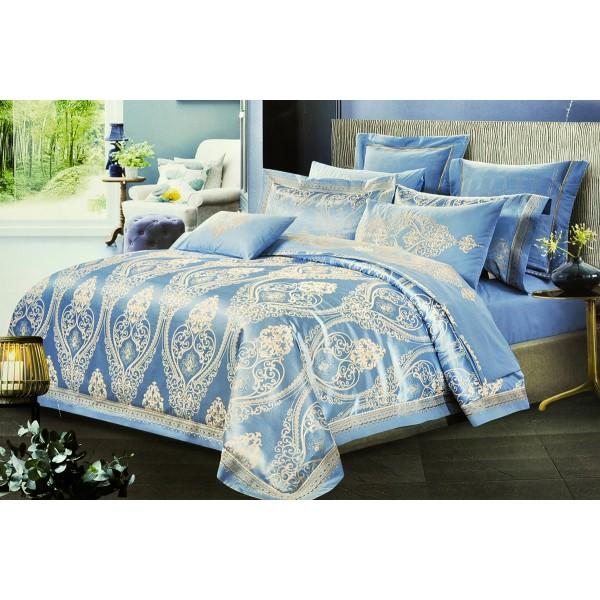 Комплект постельного белья Grace blue SoundSleep сатин-жаккард голубой полуторный