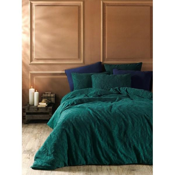 Комплект постельного белья Stonewash Jakard Dark green SoundSleep евро