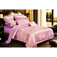 Bed linen set Luxury violet SoundSleep satin-jacquard purple family