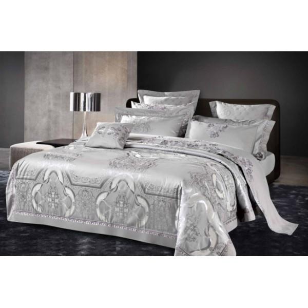 Комплект постельного белья Elegance silver SoundSleep сатин-жаккард серый евро