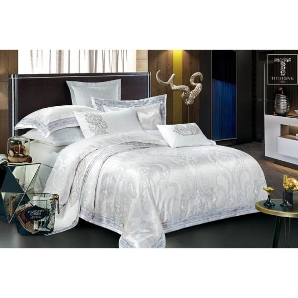 Комплект постельного белья Ornament white SoundSleep сатин-жаккард белый cемейный