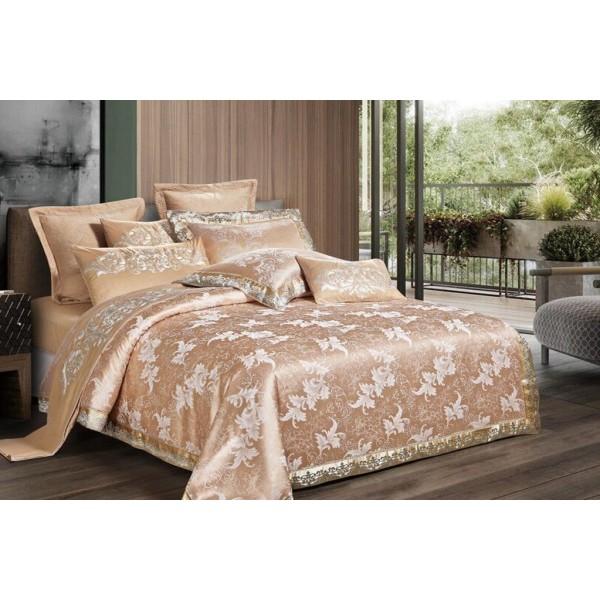 Комплект постельного белья Exclusive gold SoundSleep сатин-жаккард кремово-золотистый семейный