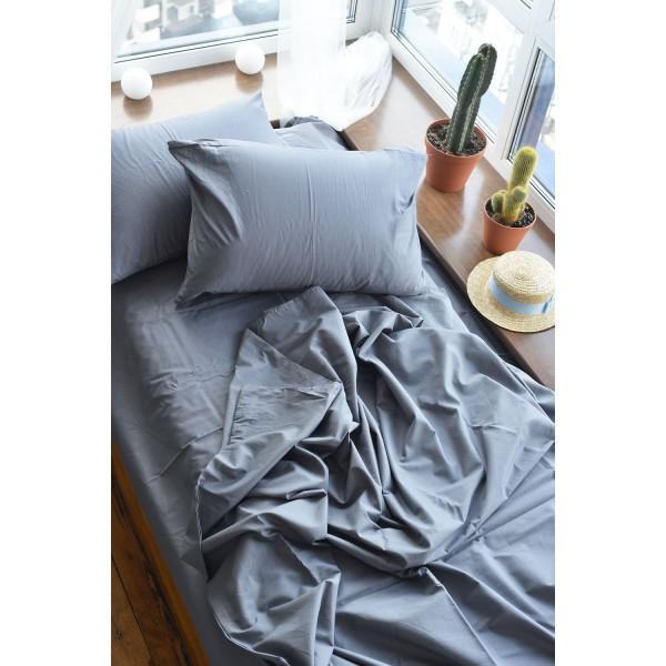 Комплект постельного белья SoundSleep Dyed Dark grey ранфорс полуторный