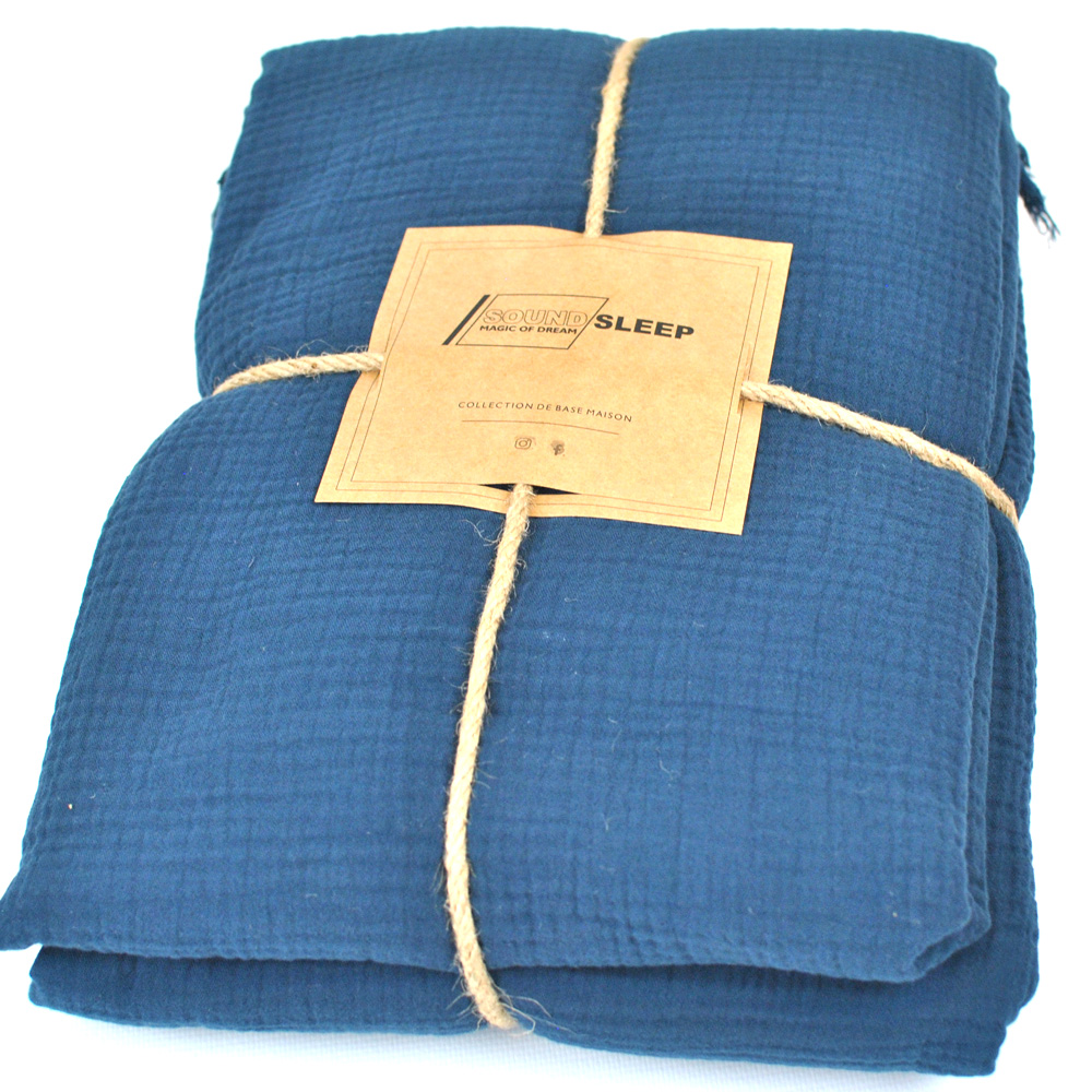 Покрывало хлопковое SoundSleep Muslin dark blue 200х260 см