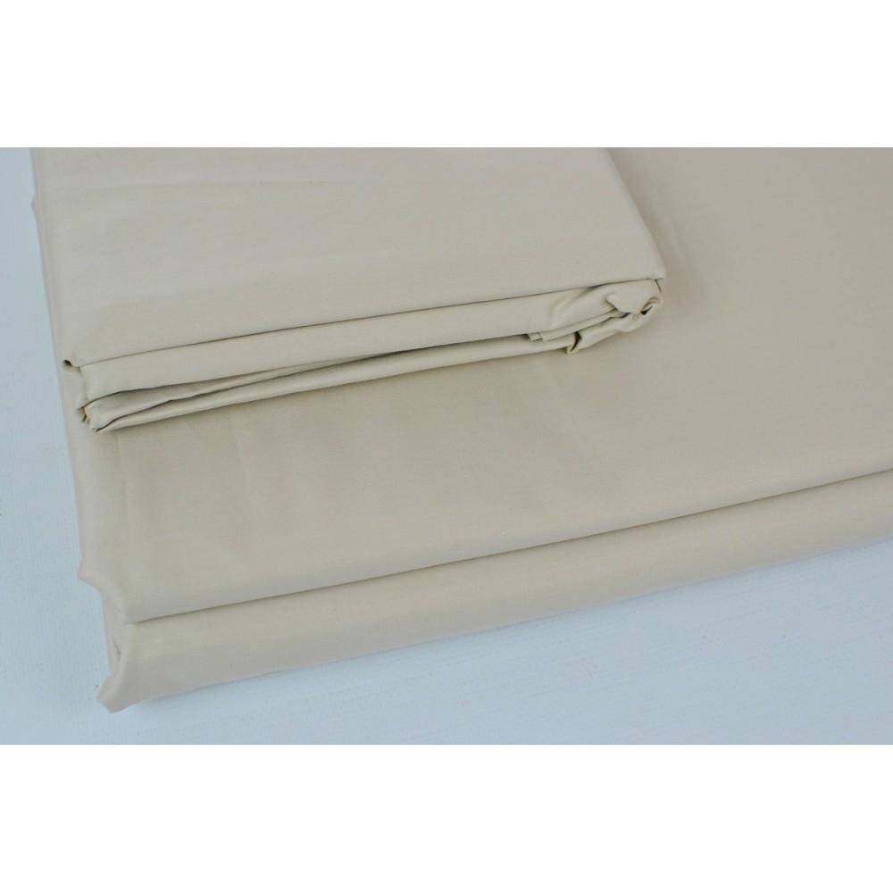Простынь на резинке SoundSleep Shine сатин beige бежевая 200х200 см