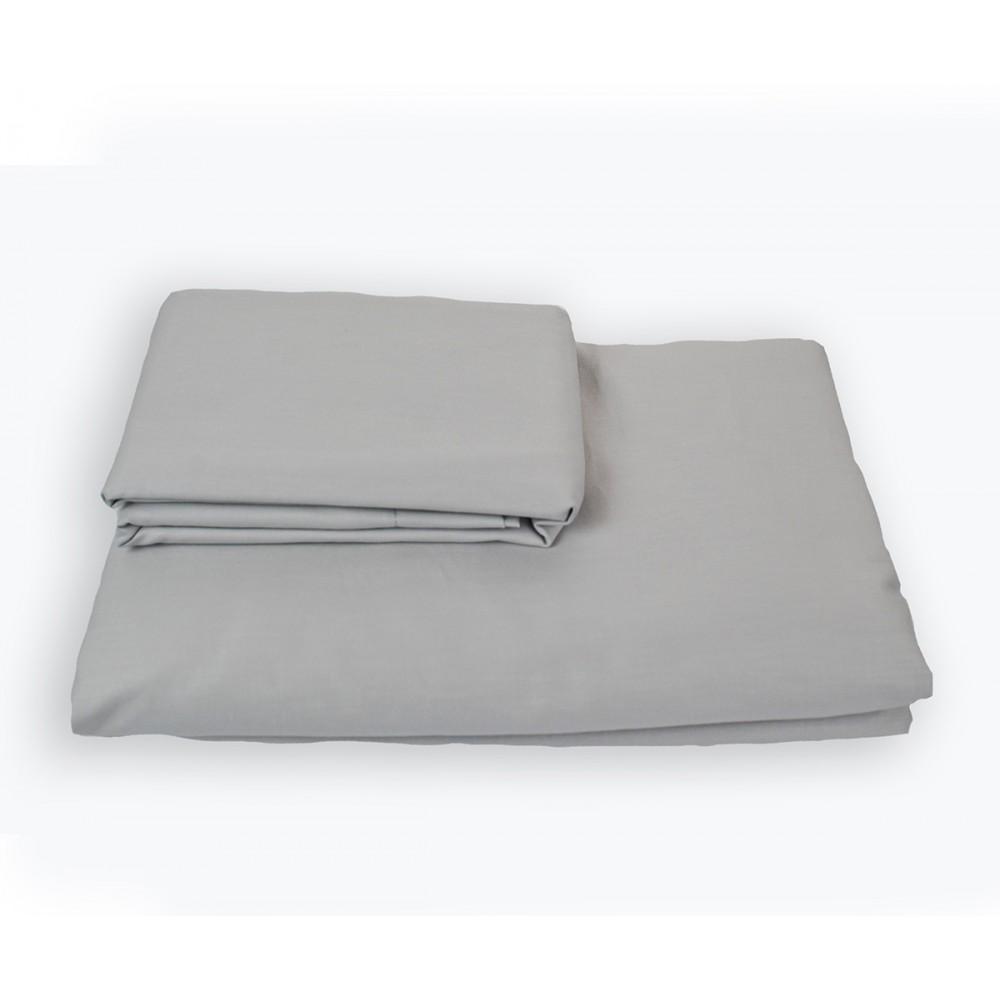 Простынь на резинке SoundSleep Shine сатин light gray светло-серая 160х200 см