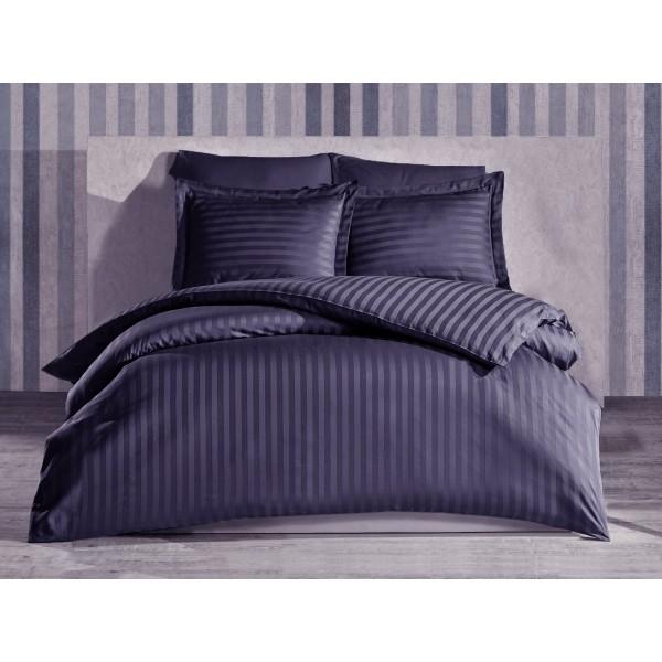 Комплект постельного белья Stripe Black SoundSleep сатин-страйп черный семейный